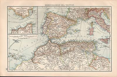 "1900 ""times""  Large Antique Map - Mediterranean Sea Western, Strait Of Gibraltar"
