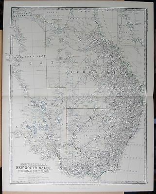 1875 Extra Large Antique Map - South Australia, New South Wales, Victoria And Qu