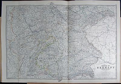 1875 Extra Large Antique Map - Empire Of Germany, South West Inc Alsace Lorraine