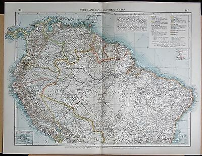 "1900 ""times""  Large Antique Map - South America Northern Inset Galapagos Islands"