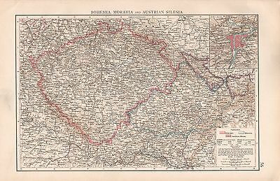 "1900 ""times""  Large Antique Map - Bohemia, Moravia, And Austrian Silesia"