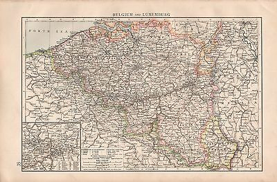 "1900 ""times""  Large Antique Map - Belgium And Luxemburg"