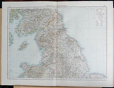 "1900 ""Times""  Large Antique Map - England And Wales (North)"