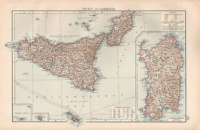 """1900 """"times""""  Large Antique Map - Sicily And Sardinia With Malta"""
