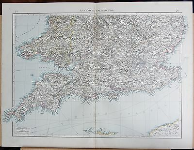 "1900 ""times""  Large Antique Map - England And Wales (South)"