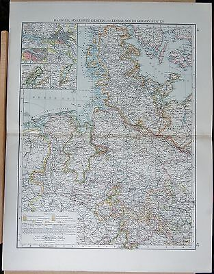 "1900 ""Times""  Large Antique Map - Hanover Schleswig Holstein And Lesser N German"