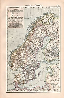 "1900 ""times""  Large Antique Map - Norway And Sweden"