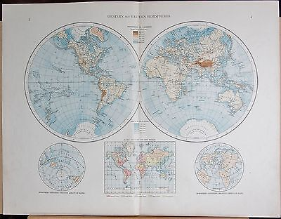 """1900 """"times""""  Large Antique Map - The World, Western And Eastern Hemispheres"""