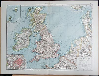 "1900 ""times""  Large Antique Map - British Isles And North Sea, Environs Of Londo"