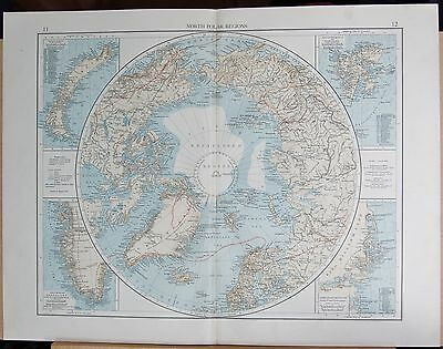 """1900 """"times""""  Large Antique Map - North Polar Regions"""