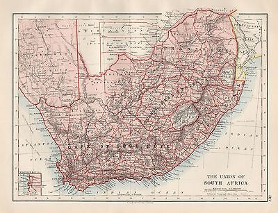 1920 Vintage Map-The Union Of South Africa