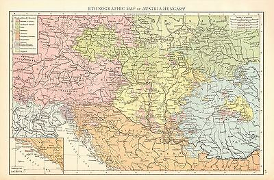 1895 Large Antique Map-Ethographic Map Of Austria-Hungary