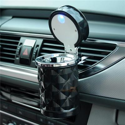 Car Auto Smokeless Cigarette Ashtray Cylinder Cup Holder w/ Lid Cover LED Light