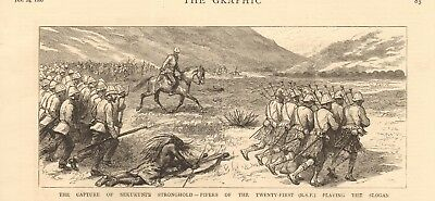 1880 ANTIQUE PRINT -SEKUKUNI'S STRONGHOLD, PIPERS OF 21st PLAYING THE SLOGAN