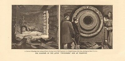 "1880 Antique Print- Bursting Of The 38 Ton ""thunderer"" At Woolwich"