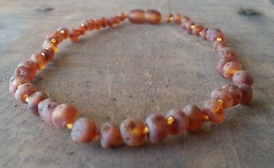 Genuine Baltic Amber Child Necklace  UNPOLISHED COGNAC Jewellery Beads FREE POST