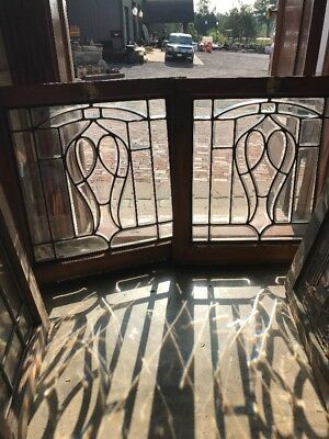 Sg 1541 Matched Pair Antique All Beveled Glass Windows 24.2 5W By 24.7 5H