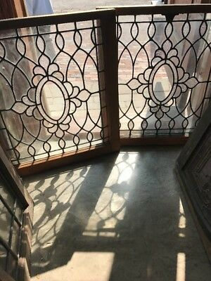 Sg 1548 Match Pair Antique Porthole Stainglass Windows 24.5 X 27.25