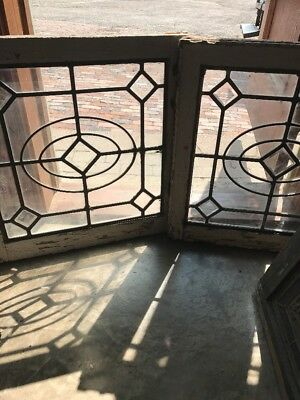 Sg 1550 Matched Pair Antique Leaded Glass Windows Beveled Center 24.5 X 25