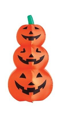 "48"", Inflatable Lighted 3 Stack Halloween Pumpkin,Lighted with Blower and Stakes"