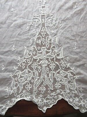 Antique Embroidered Batiste Cotton Panel Ayrshire Lace White Work Cutter