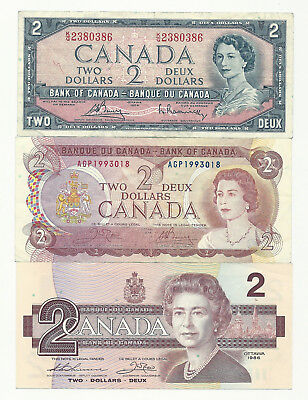Lot of 3 x CANADA TWO DOLLAR BANK NOTES (1954/1974/1986)