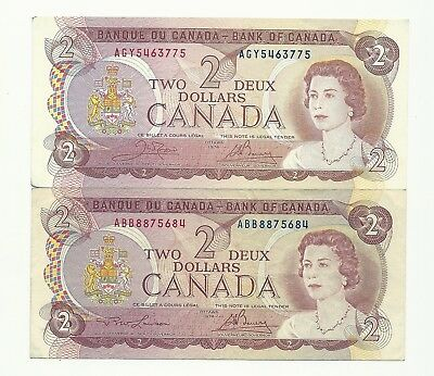 Lot of 2 x 1974 CANADA TWO DOLLAR BANK NOTES