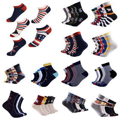 5 Pairs Men Ankle Socks Low Cut Crew Casual Polo Sport Cotton Blend Socks Soft