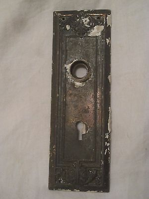 single door plate skeleton key type old metal antique ornate Victorian back