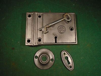 VINTAGE YALE & TOWNE RIM LOCK w/KEY & KEEPER: CLEAN RECONDITIONED (4470-A)