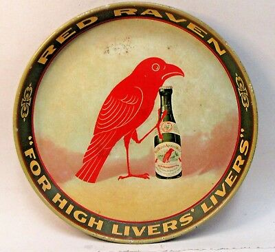 """c.1910 RED RAVEN Aperient Water of Pennsylvania Tin Litho 12"""" SERVING TRAY *"""