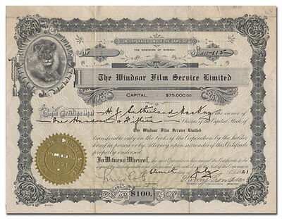 Windsor Film Service Limited Stock Certificate