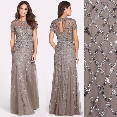 NEW $318 Adrianna Papell Cap Sleeve Beaded Mesh Gown Lead [sizes: 2 8 14 ] #M5