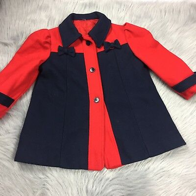 Vintage Toddler Girls Navy Blue Red Bow Peacoat Jacket Winter Fall