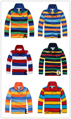 Brand New Kids Boys Long Sleeve Polo T-Shirt  Size 2 -14 Years (6 x Designs)
