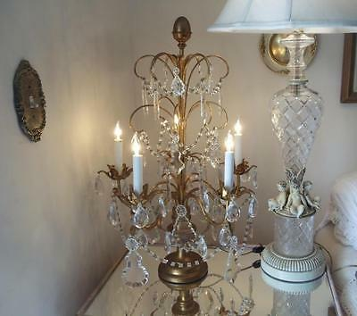 Antique Xl Vtg Italian Gold Beaded Girandole Candelabra Crystal Chandelier Lamp