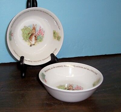 """Lot Of 2 Wedgwood Peter Rabbit And Benjamin Bunny Bowls 5.75"""" Never Used"""