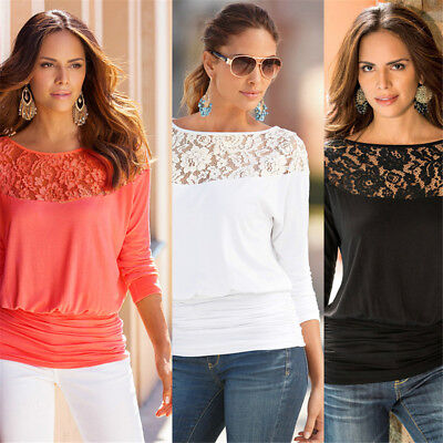 New Womens Lace Crew Neck Tops Blouse Casual Long Sleeve Shirt Solid Color Tunic