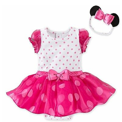 Baby Girl Minnie Mouse Disney Store Bodysuit Costume Summer Dress tutu Outfit