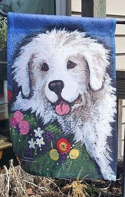 GREAT PYRENEES MOM'S FAVORITE FLOWER 12 by 18 GARDEN FLAG no pole by Amy Bolin