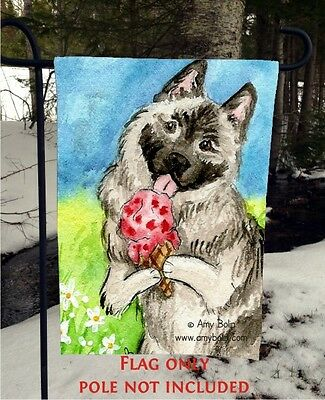 Norwegian Elkhound MAKE IT STRAWBERRY 12 By 18 Garden flag no pole By Amy Bolin