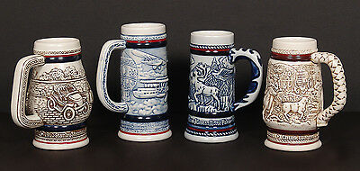 Set of Four Vintage Avon Collectible Handcrafted Mini Ceramic Beer Steins Mugs