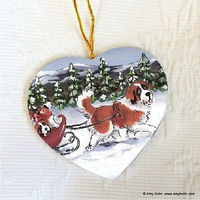 SAINT ST. BENARD CERAMIC HEART SHAPE CHRIST. ORNAMENT by Amy Bolin A WINTRY RIDE