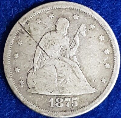 1875 San Francisco Mint Seated Liberty 20 Cent Coin  ID #A1-5