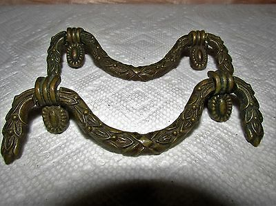 Antique Grecian Style Brass Drawer Pulls, Pair, Very Elegant