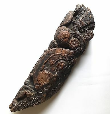 Rare Antique Carved Teak Corbel Roof Bracket 17th C India Architectural Fragment