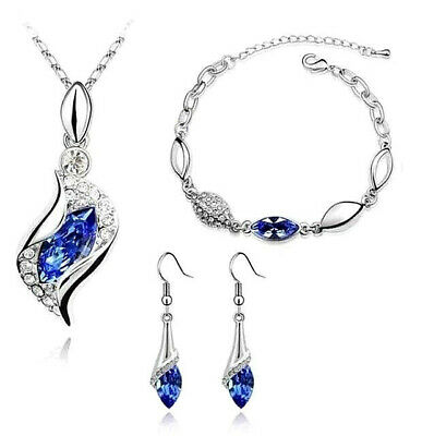 New Women's Silver Crystal Rhinestone Necklace Bracelet Earring Set Royal Blue