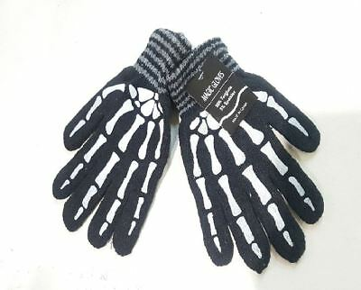 Magic Stretch Knit Gloves Acrylic Black with Skeleton print One size fits most