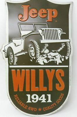 New vintage look 1941 Jeep Willys  4WD Quality Embossed Sign GARAGE MANCAVE