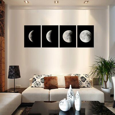 4PCS Modern Abstract The Moon Painting Art Print Canvas Home Wall Decor